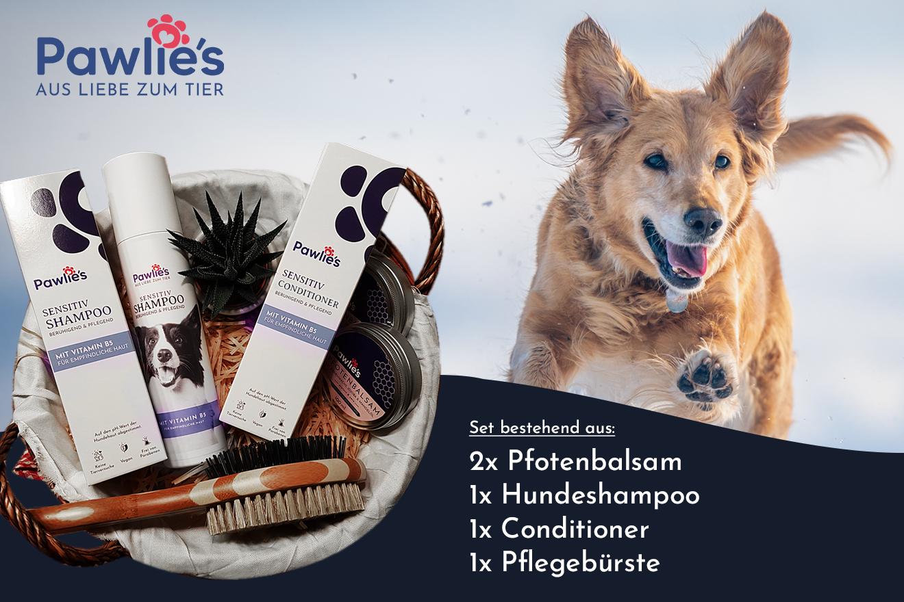 Passend zur Vorstellung der Pawlie´s® Produktpalette hinter dem 5. Türchen unseres Adventskalender Gewinnspiels geht es um ein Pawlie´s®-Set, bestehend aus 2x Pfotenbalsam, einem Hundeshampoo, einem Conditioner und einer Pflegebürste.