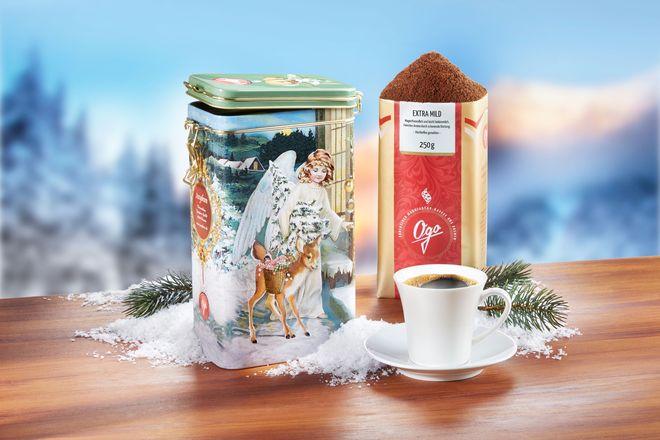"""Genuss auf festliche Art: Die Metalldose """"Himmelsbote"""" (9,50 Euro) mit ihrem nostalgischen Motiv ist ein originelles Präsent für alle Kaffeeliebhaber."""